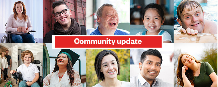 A red and white banner reading Community Update sits in the middle of 2 rows of 5 images of people smiling.