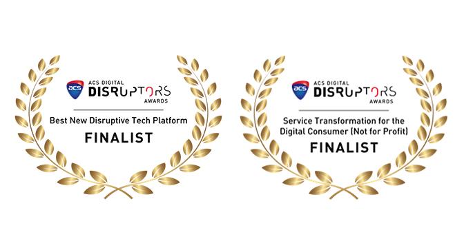 ACS Digital Disruptors Awards Finalist badges