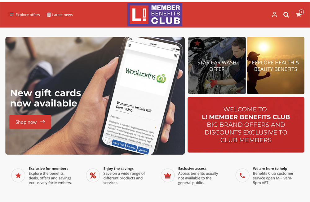 Leap in! member Benefits Club home page